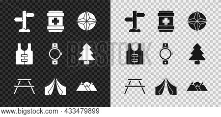 Set Road Traffic Signpost, First Aid Kit, Wind Rose, Picnic Table With Benches, Tourist Tent, Mounta
