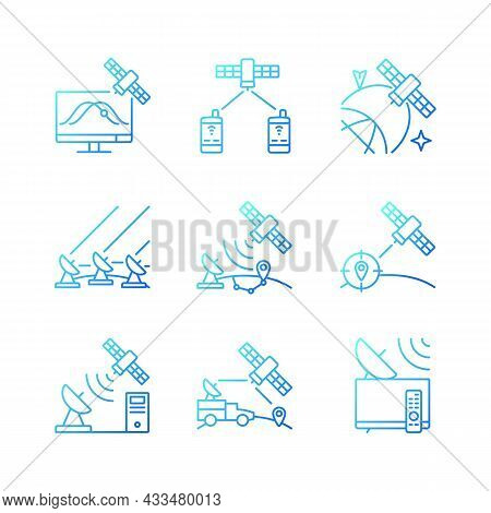 Artificial Satellites Gradient Linear Vector Icons Set. Satellite Tracking, Navigation, Positioning