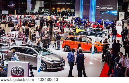 Vistors At The 86th International Geneva Motor Show In Palexpo, Geneva. The Geneva International Mot