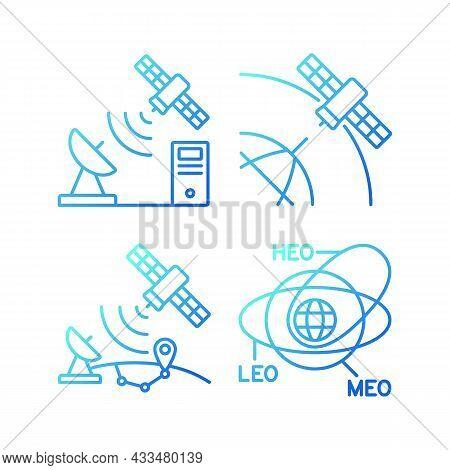 Satellite Radionavigation Gradient Linear Vector Icons Set. Transmission Control Protocol Standarts.