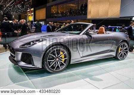 Jaguar F-type Svr Convertible Car Showcased At The Geneva International Motor Show. Switzerland - Ma