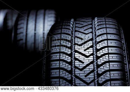 Close Up Profile Modern Black Car Tyres Profile