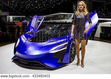 Techrules At96 Trev Sports Car Showcased At The Geneva International Motor Show. Switzerland - March