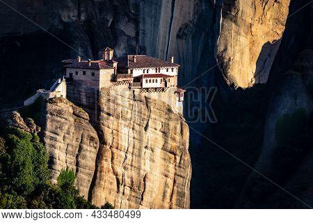 Rousanou Monastery On A Monolithic Pillar In Meteora, Pindos Mountains, Greece