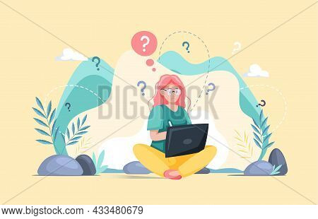Making Confusion. Woman Thought About Solution To Problem, Choose Options Person Concept. Career, Li