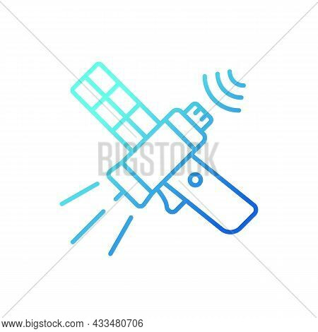 Communications Satellite Gradient Linear Vector Icon. Telecommunications Network. Transmiting Signal