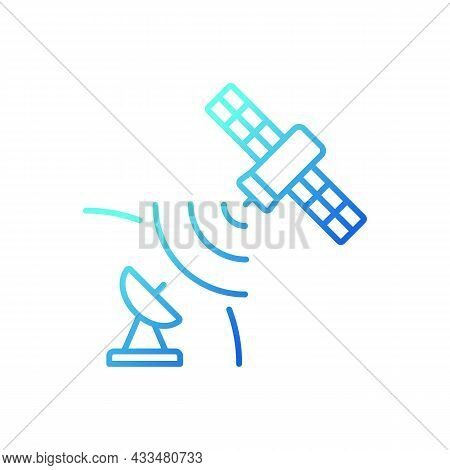 Satellite Signal Gradient Linear Vector Icon. Telecommunications Network. Signal Receiving Dish Sate