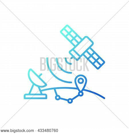 Global Positioning System Gradient Linear Vector Icon. Satellite-based Radionavigation System. Gps P