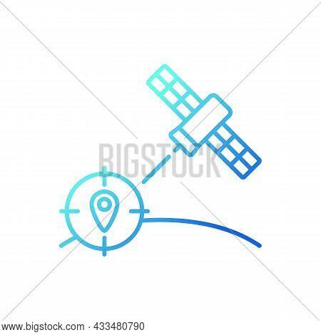 Navigation Satellite Gradient Linear Vector Icon. Satellite-based Radionavigation System. Gps Positi