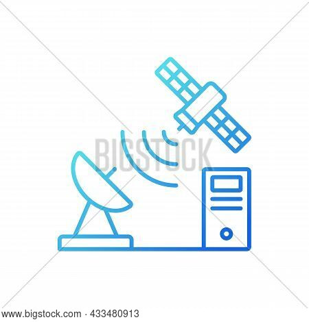 Tcp Over Satellite Gradient Linear Vector Icon. Transmission Control Protocol. Telecommunications Ne
