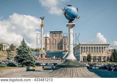 Kyiv, Ukraine - June 14, 2021: Zero kilometer sign in the form of a globe on the Maidan Nazalezhnosti in Kyiv, Ukraine