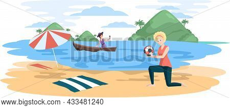 Summer Vacation, People Relaxing On Beach, Taking Selfie, Playing Ball, Leisure And Active Weekend.