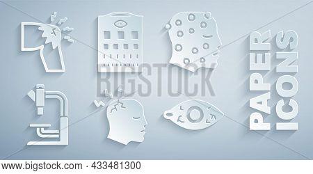 Set Man Having Headache, Psoriasis Or Eczema Rash, Microscope, Reddish Eye, Eye Test Chart And Joint