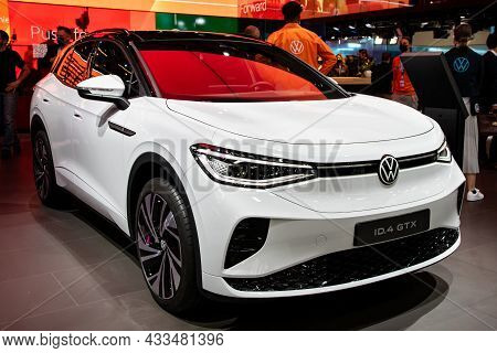 Volkswagen Id.4 Gtx All-electric Suv-coupe Car Showcased At The Iaa Mobility 2021 Motor Show In Muni