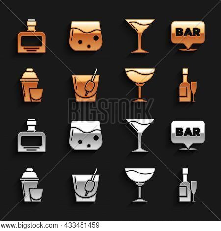 Set Cocktail Bloody Mary, Alcohol Bar Location, Champagne Bottle And Glass, Wine, Shaker, Martini, W