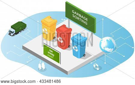 Containers For Waste, Colored Trash Cans Isometric Illustration. Innovative Green Technology, Eco Sm