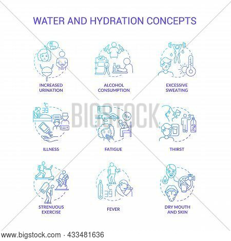 Water And Hydration Blue Gradient Concept Icons Set. Dehydration Causes, Symptoms. Additional Liquid