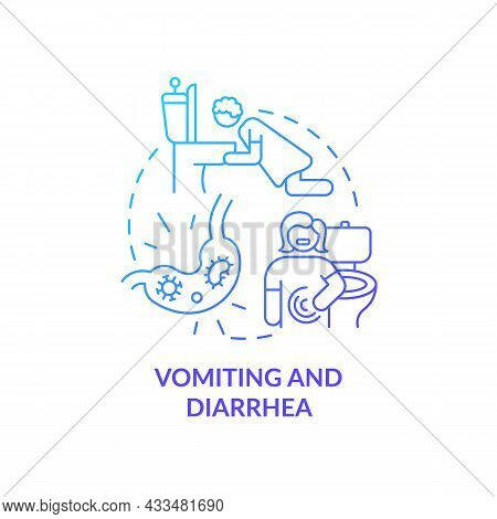 Vomiting And Diarrhea Blue Gradient Concept Icon. Water And Mineral Loss. Stomach Flu. Dehydration C