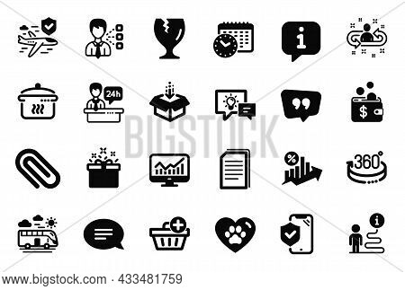 Vector Set Of Business Icons Related To Statistics, 360 Degrees And Fragile Package Icons. Boiling P