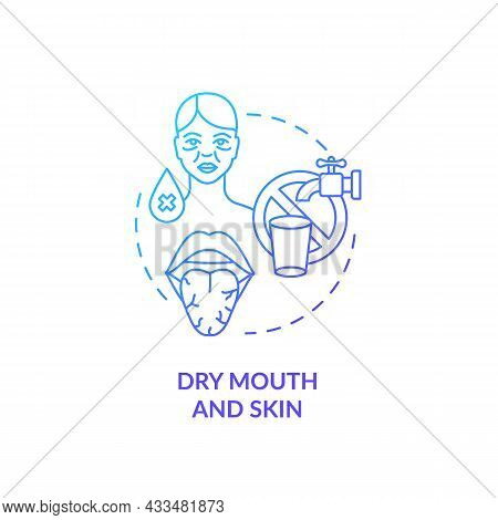 Dry Mouth And Skin Blue Gradient Concept Icon. Dehydration Causes And Symptoms. Saliva Deficiency. B