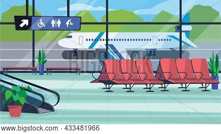 Airport Waiting Hall Interior Concept In Flat Cartoon Design. Lobby Room With Seating, Stairs For Bo