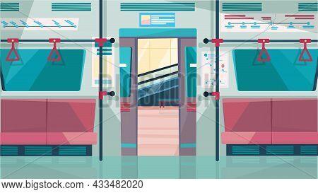 Subway Car Interior With Open Door Concept In Flat Cartoon Design. Metro Salon With Seats And Handra