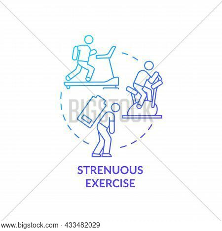 Strenuous Exercise Blue Gradient Concept Icon. Intense Activity Requires Additional Fluid Consumptio