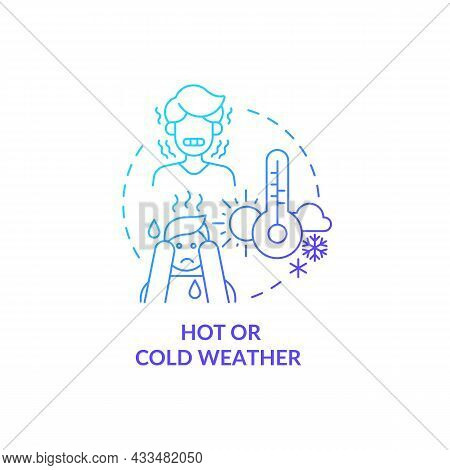 Hot Or Cold Weather Blue Gradient Concept Icon. Drink Plenty Of Water. Prevention Of Moisture Loss.