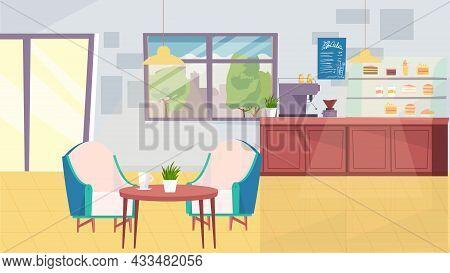 Coffee Shop Interior Concept In Flat Cartoon Design. Barista Table With Coffee Machine, Menu, Showca