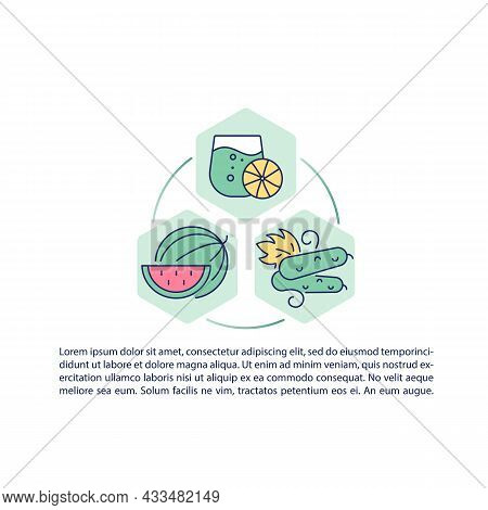 Fruits And Vegetables Containing Water Concept Line Icons With Text. Ppt Page Vector Template With C