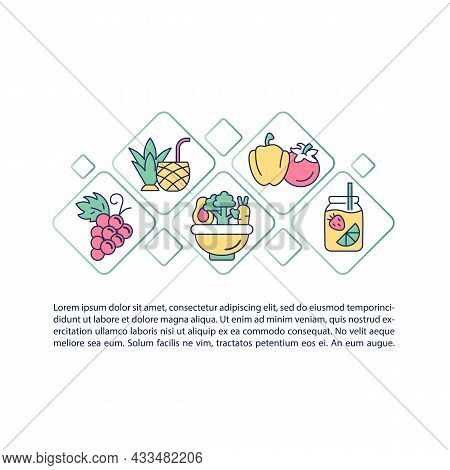 Fluid Containing Food Concept Line Icons With Text. Ppt Page Vector Template With Copy Space. Brochu