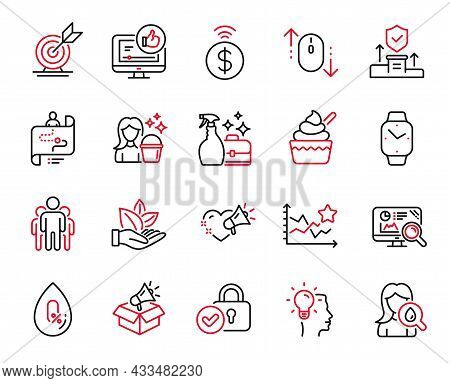 Vector Set Of Business Icons Related To Idea, Cleaning And Moisturizing Cream Icons. Ice Cream, Like