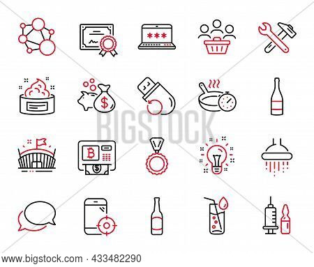 Vector Set Of Business Icons Related To Idea, Flash Memory And Spanner Tool Icons. Loan, Frying Pan