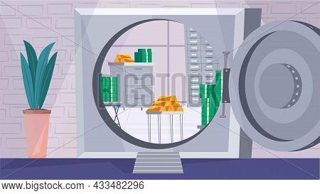 Safe Deposit Box Interior Concept In Flat Cartoon Design. Open Door To Metal Vault, Gold Bars And St