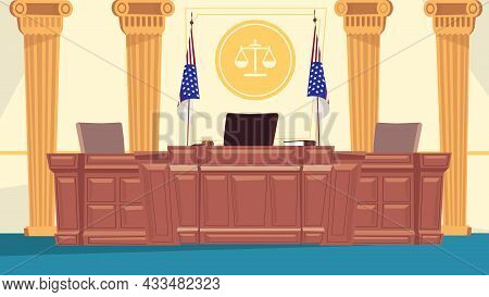 Courtroom Interior Concept In Flat Cartoon Design. Judge Workplace At Huge Table, Secretarys Place,