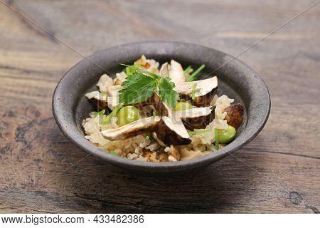 Matsutake Gohan( boiled rice with matsutake mushrooms ), Japanese autumn food