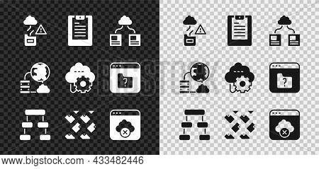 Set Cloud Technology Data Transfer, Server, Data Report, Hierarchy Organogram Chart, Stream, Failed