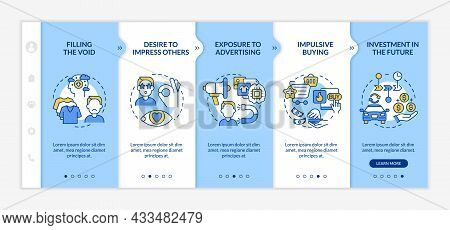 Reasons For Consumerism Blue Onboarding Vector Template. Responsive Mobile Website With Icons. Web P