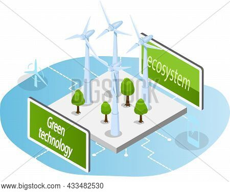 Wind Generator For Clean Environmentally Friendly Alternative Energy. Wind Of Turbines For Electrici