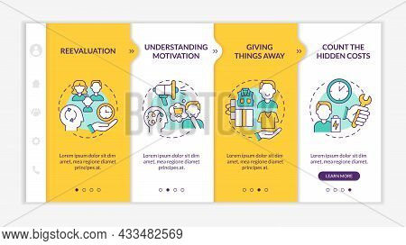 Challenging Consumerism Yellow Onboarding Vector Template. Responsive Mobile Website With Icons. Web