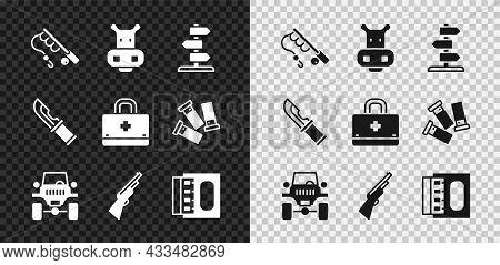 Set Fishing Rod, Hippo Or Hippopotamus, Road Traffic Sign, Off Road Car, Hunting Gun, Matchbox And M