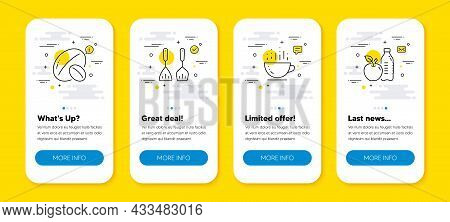 Vector Set Of Coffee Cup, Cooking Cutlery And Soy Nut Line Icons Set. Ui Phone App Screens With Line