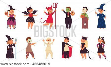 Halloween Party Characters. Costume Friends, Little Cute Kid Zombie Fest. Young Child Wear Carnival