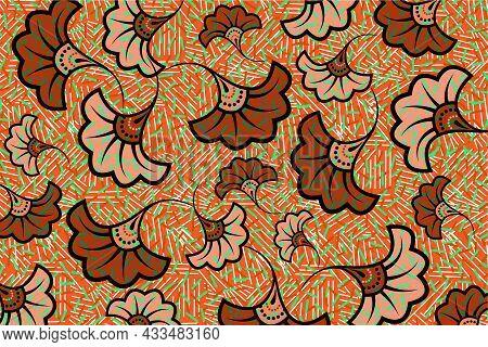 African Wax Print Fabric, Ethnic Overlap Ornament Flower Fashion Design, Kitenge Pattern Motifs Flor