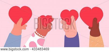 Share Your Love. Help United, Volunteering Holidays. Hand Holding Hearts, Hope Concept. Positive Emo