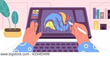 Animation Process. Computer Graphic Screen, Animator Artist Create Motion Movie. Professional Video