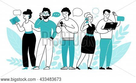 People Online Conversation. Communication, Internet Dialogue Or Web Video Call. Remote Talking, Woma