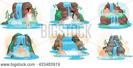 Man Sits In Water In Lake Next To Rock And Waterfall Scenes Set. Clean Nature Concept, Tropical Rive