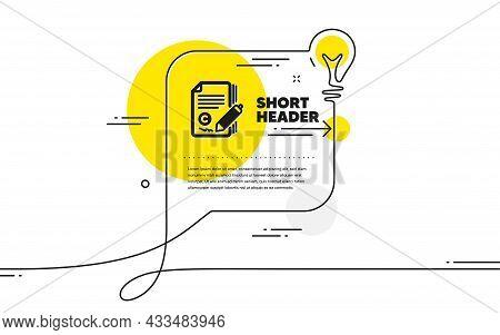 Copywriting Icon. Continuous Line Idea Chat Bubble Banner. Copyright Signature Sign. Feedback Symbol