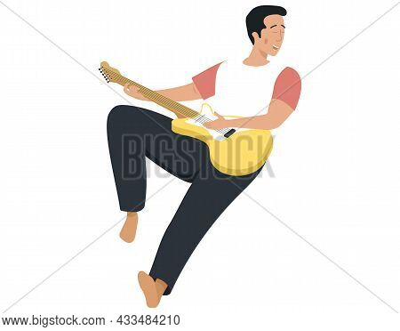 Man Sings Song. Guy Lies With Guitar Isolated On White. Guitarist Making Melody At Home. Person Crea